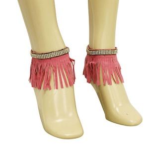 anklet 105b 40 crystal fringe gold pink
