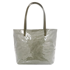 Gloss PVC Paper Tote - olive