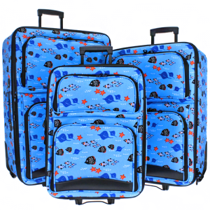 luggage 3pc fish light blue multi