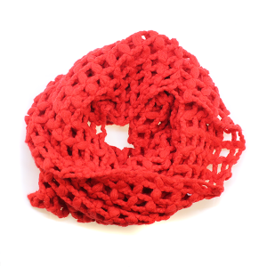 Scarf  161d 11 Weave Knit Net Infinity Scarf red