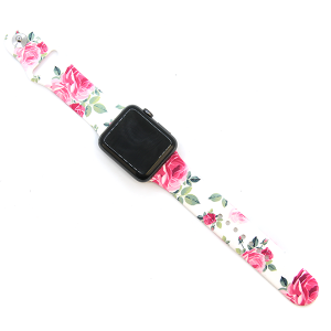 Watch Band 078a silicone rubber graphic watch band roses white 38mm - 40mm