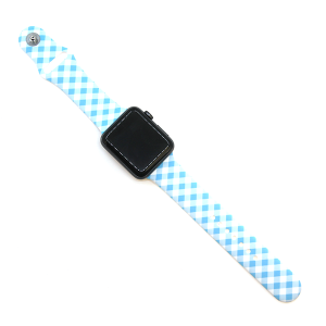 Watch Band 112 08 Rubber Silicone watch band 38mm 40mm plaid blue