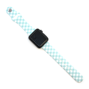 Watch Band 096 08 Rubber Silicone watch band 38mm 40mm plaid turquoise