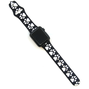 Watch Band 105 08 Rubber Silicone watch band 38mm 40mm dog paw black