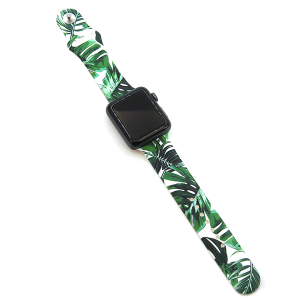 Watch Band 013a 08 silicone rubber 38mm 40mm tropical leaves