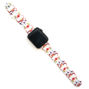 Watch Band 075 08 silicone rubber 38mm 40mm longhorn floral white
