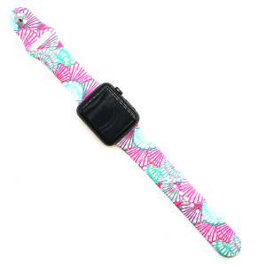 Watch Band 079b 08 silicone rubber 38mm 40mm seashell pink turquoise