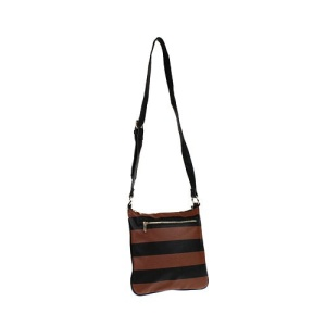 az q 3031 horizontal stripe messenger bag brown black