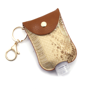 Hand Sanitizer Keychain 032 Snake Brown Beige