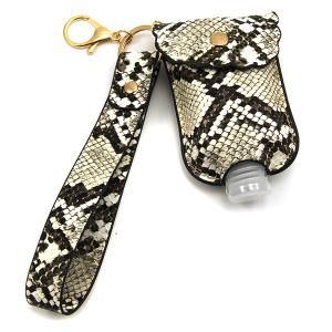 Hand Sanitizer Keychain 095 snake print wrist strap beige