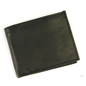 Simple Bifold Wallet Leather a14 Black