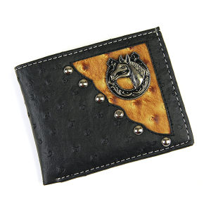 Western Bifold Wallet Leather Horse Black