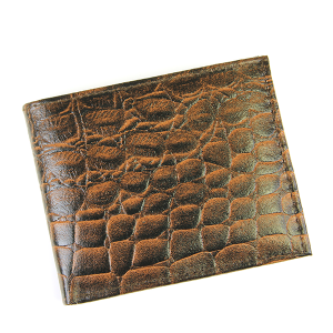Western Bifold Wallet Leather Scales Croc Brown