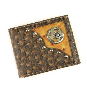 Western Bifold Wallet Leather Texas Brown