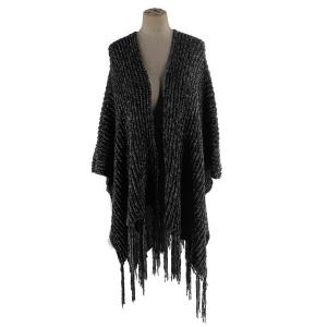 Shawl 668 03 Justin & Taylor Fringe kimono shawl black