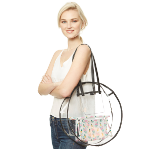 Clear round tote - Black