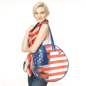 Clear round tote - USA American Flag