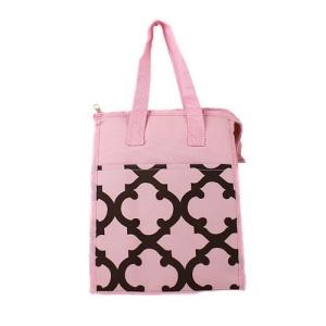 cc 18 11 lunch bag quatrefoil pink brown
