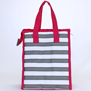 cc 18 23 lunch bag nautical stripe gray white fuchsia