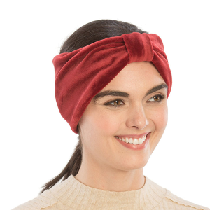 Winter Headband 213a 08 faux suede knot Headband burgundy