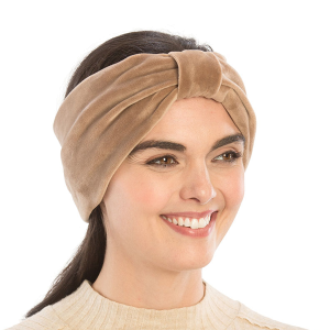 Winter Headband 214a 08 faux suede knot Headband taupe