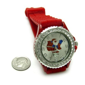 christmas watch 096 08 lg rubber santa claus red