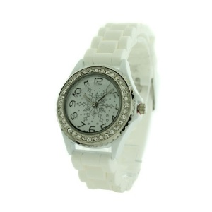 christmas watch 180a 08 snowflake crystal rubber white silver