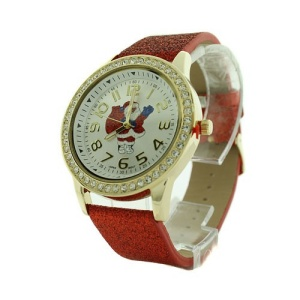 christmas watch 184a 08 santa claus glitter crystal red silver