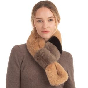 Scarf 091a 08 Fadivo faux fur scarf taupe tri tone