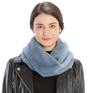 Scarf 525 08 Fadivo solid faux fur infinity scarf blue