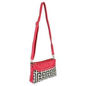 cs g 2069 gk Greek Key Crossbody Bag Fuchsia