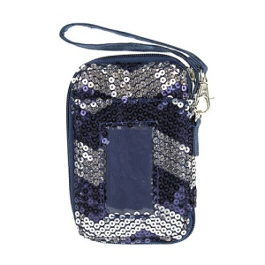 cs lusq 49 sv chevron sequin wallet silver navy blue