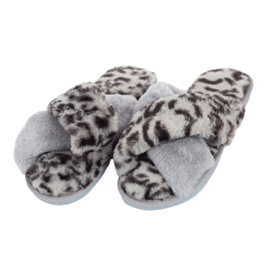 Winter Slipper CSL001 leopard print cross  gray size 8 - 8.5