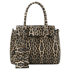 Handbag Republic DXV-0092 2 in 1 leopard print satchel tan
