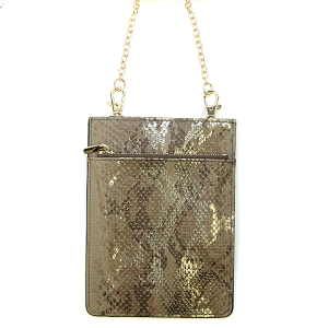 Metallic Snake Print Crossbody Bag - brown