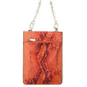 Metallic Snake Print Crossbody Bag - red
