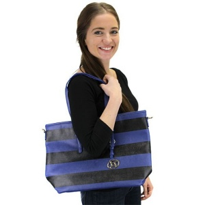 fdc n0027 st nv handbag stripe pvc navy black