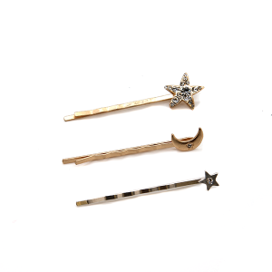 Hair clip 204A 25 Tell your tale silver star shaped/ bronze star shaped/ bronze moon shaped hair clip