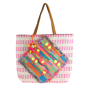 Woven Stitch Diamond Neon Tote - Multicolor