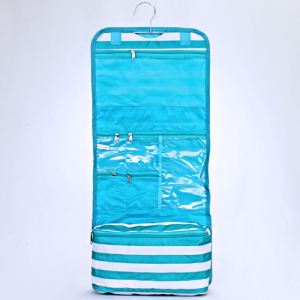 hanging cosmetic case ak cb 25 23 nautical stripe turquoise white