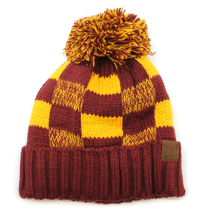 Winter CC Beanie 264 Checkered Weave Pom Pom maroon gold
