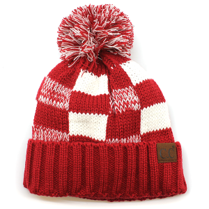 Winter CC Beanie 269 Checkered Weave Pom Pom red white