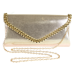 Metallic Chain Envelope Clutch - Gold