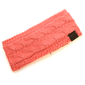 Winter CC Headband 242a Cable Headwrap Sherpa Lining coral