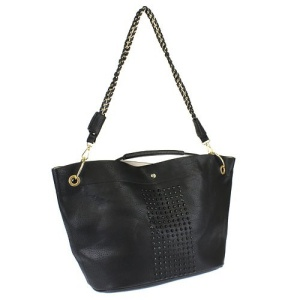 ih 80519 studded fashion tote black
