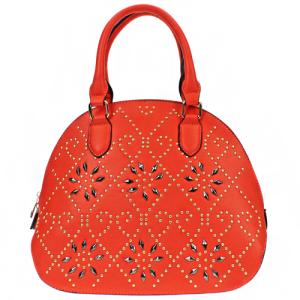 ih 81011 handbag floral embellishment coral