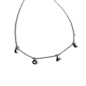 Necklace 2269 Avec LOVE necklace brass silver