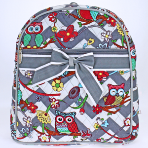 jm OW 401 quilted backpack owl chevron gray