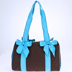 jm QS 701 quilted mini duffle bag brown turquoise