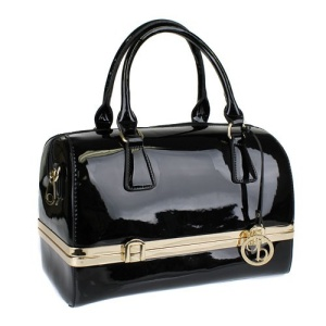 jm jm 755 pt shiny pvc satchel black